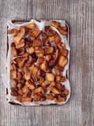 Rustic deep fried crispy pork rind Stock Photos