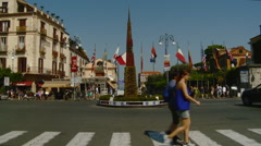 Sorrento, Italy Piazza Tasso People Walking, Traffic at Roundabout Stock Footage