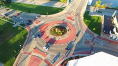 Scenic Aerial Rotation of Roundabout, Traffic Driving in Circle Stock Footage