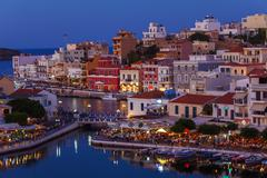 Agios Nikolaos City at Night, Crete, Greece - stock photo