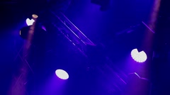 Rock concert and disco party stage blue lights - stock footage