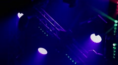 Rock concert and disco party stage lights of blue colors - stock footage