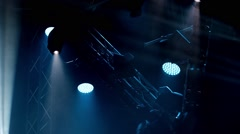 Rock concert and disco party stage blue lights Stock Footage