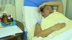 Sick woman can't sleep Stock Footage