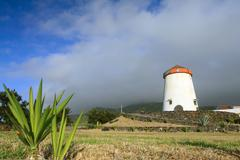 Windmill landscape from Azores Islands - stock photo