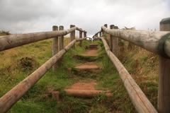Path of wooden stairs in Sao Miguel Island, Azores Stock Photos