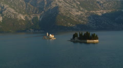 Kotor Fjord Church of the Rock Stock Footage