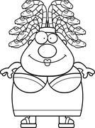 Happy Cartoon Medusa - stock illustration
