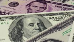 Rolling US Dollar Notes Background Loop Stock Footage
