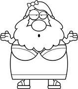 Stock Illustration of Confused Cartoon Bearded Lady