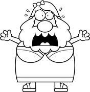 Scared Cartoon Bearded Lady Stock Illustration