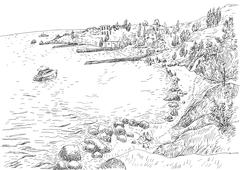 Stock Illustration of Sea coast with piers and rocky shore in the Crimea. Monochrome freehand ink d