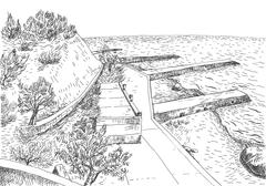 Sea coast with piers and rocky shore in the Crimea. Monochrome freehand ink d - stock illustration