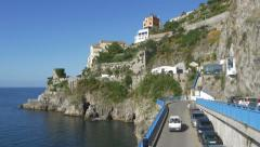 Between Amalfi and Atrani on the Amalfi coast in Italy. Delivery truck goes by. Stock Footage