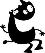 Cartoon Rhino Silhouette Sitting Stock Illustration
