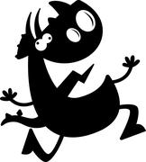 Stock Illustration of Cartoon Triceratops Silhouette Crazy