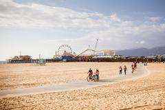 Stock Photo of Santa Monica Beach During The Day