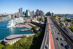 Sydney Skyline From The Harbour Bridge - stock photo