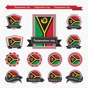 Vanuatu independence day flags infographic design Stock Illustration