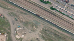 4K Aerial shot of the railway in Jasper Alberta Canada at sunset - stock footage
