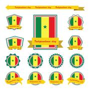 senegal  independence day flags infographic design - stock illustration