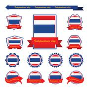 Stock Illustration of thailand independence day flags infographic design