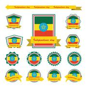 Label ethiopia independence day flags infographic design Stock Illustration