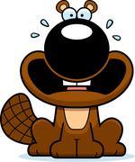 Scared Cartoon Beaver - stock illustration