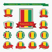 guinea independence day flags infographic design - stock illustration