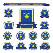 Kosovo independence day flags infographic design - stock illustration