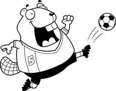 Stock Illustration of Cartoon Beaver Soccer Kick
