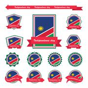 Namibia independence day flags infographic design - stock illustration