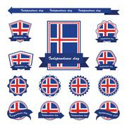 Iceland independence day flags infographic design - stock illustration