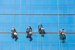 High Rise Window Washers - stock photo