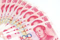 China Currency in white background Stock Photos