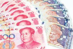 China and Malaysia Bills in White Background - stock photo