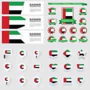 United arab emirates independence day, infographic, and label Set. Stock Illustration