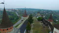Aerial: Old castle in Kamenetz-Podolskiy, Ukraine. Stock Footage