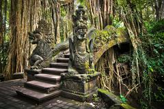 Famous Bridge at Monkey Forest Sanctuary in Ubud, Bali, Indonesia Stock Photos