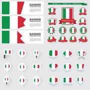 Italy independence day, infographic, and label Set. - stock illustration
