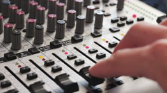 Working with Sound mixing console - stock footage