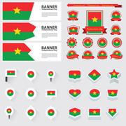 Burkina faso independence day, infographic, and label Set. Stock Illustration
