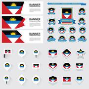 antigua and barbuda independence day, infographic, and label Set. - stock illustration