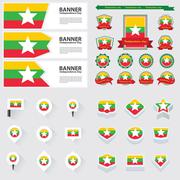 myanmar independence day, infographic, and label Set. - stock illustration