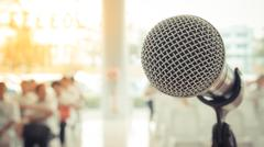 Microphone in seminar event , process in vintage style Stock Photos