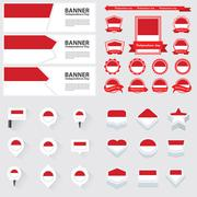 indonesia independence day, infographic, and label Set. - stock illustration