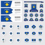 Stock Illustration of Kosovo independence day, infographic, and label Set.