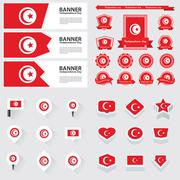 tunisia independence day, infographic, and label Set. - stock illustration