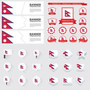 nepal independence day, infographic, and label Set. - stock illustration