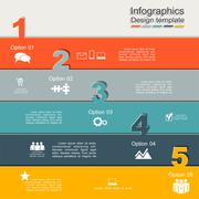 Infographic report template with numbers and icons. Vector - stock illustration